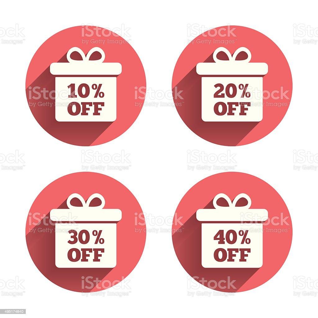 Sale gift box tag icons. Discount symbols vector art illustration
