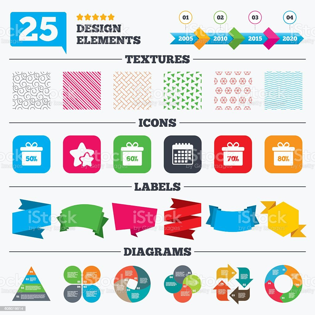 Sale gift box tag icons. Discount symbols. vector art illustration