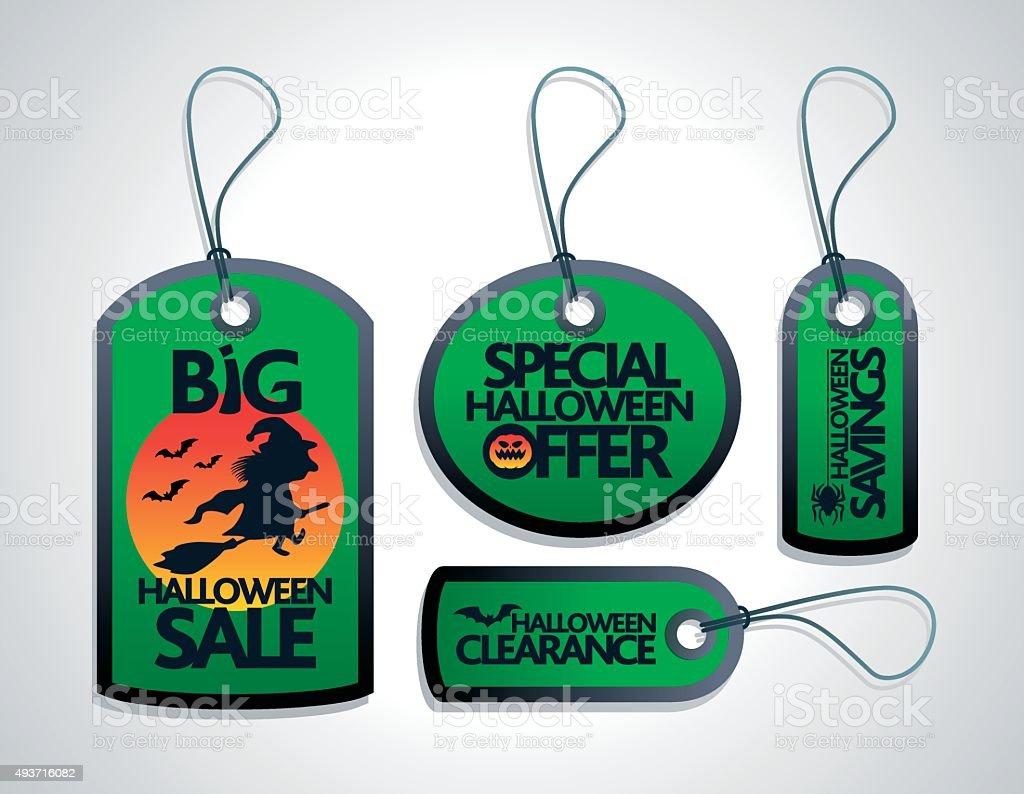 Sale Halloween concept design Tags Set green vector art illustration