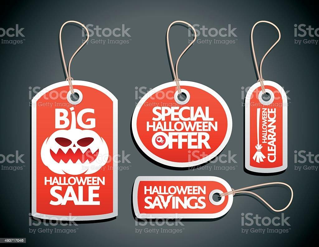 Sale Halloween concept design Tags Set red vector art illustration