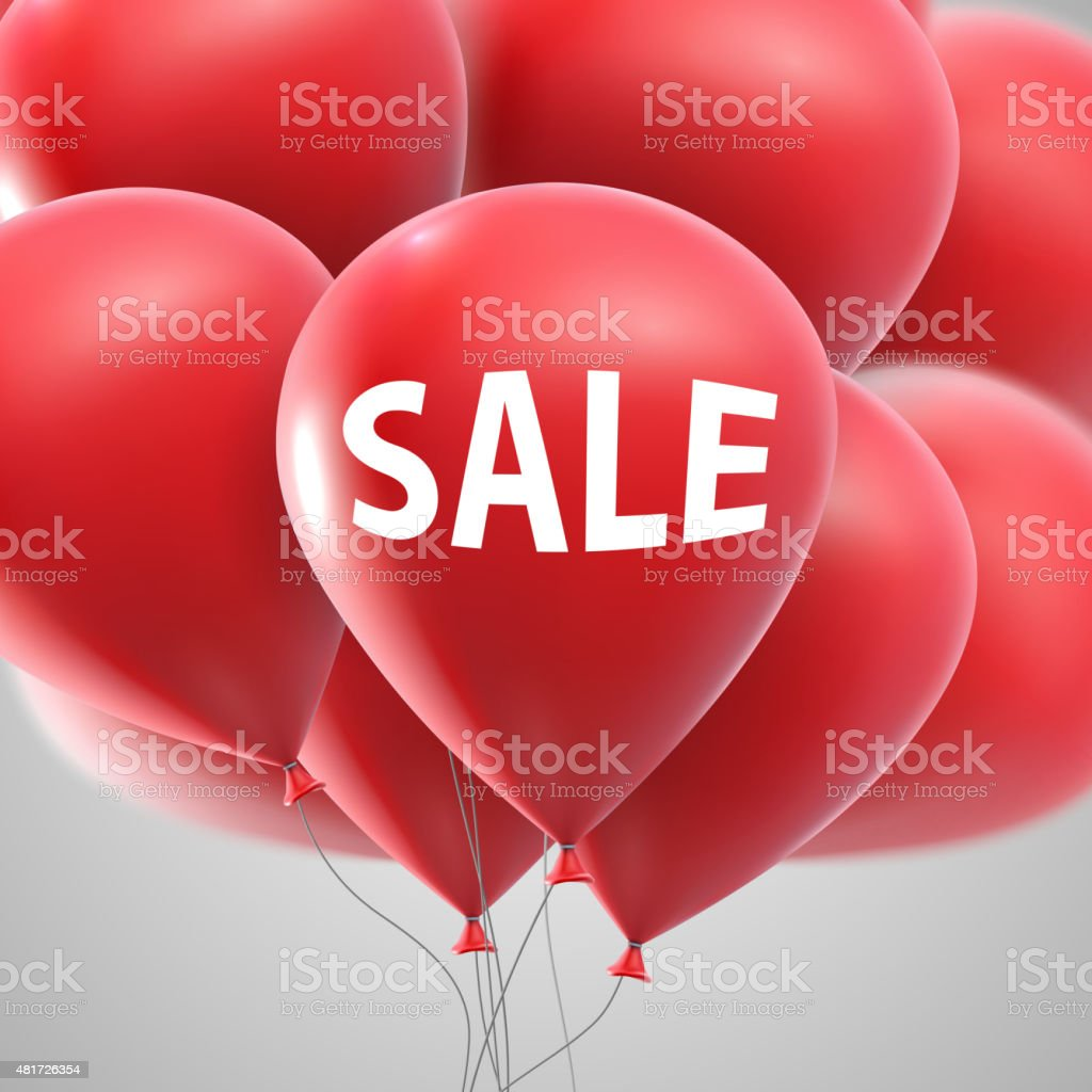 Sale label and flying balloon bunch vector art illustration