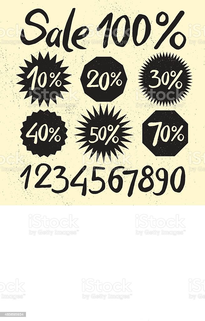 Sale labels with ink letters on the sandy background vector art illustration