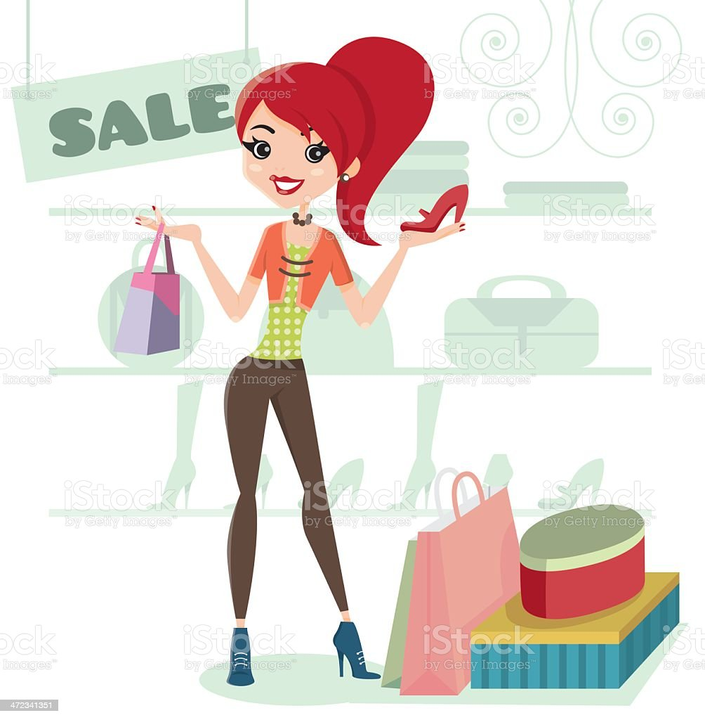 Sale! Let's go shopping! royalty-free stock vector art
