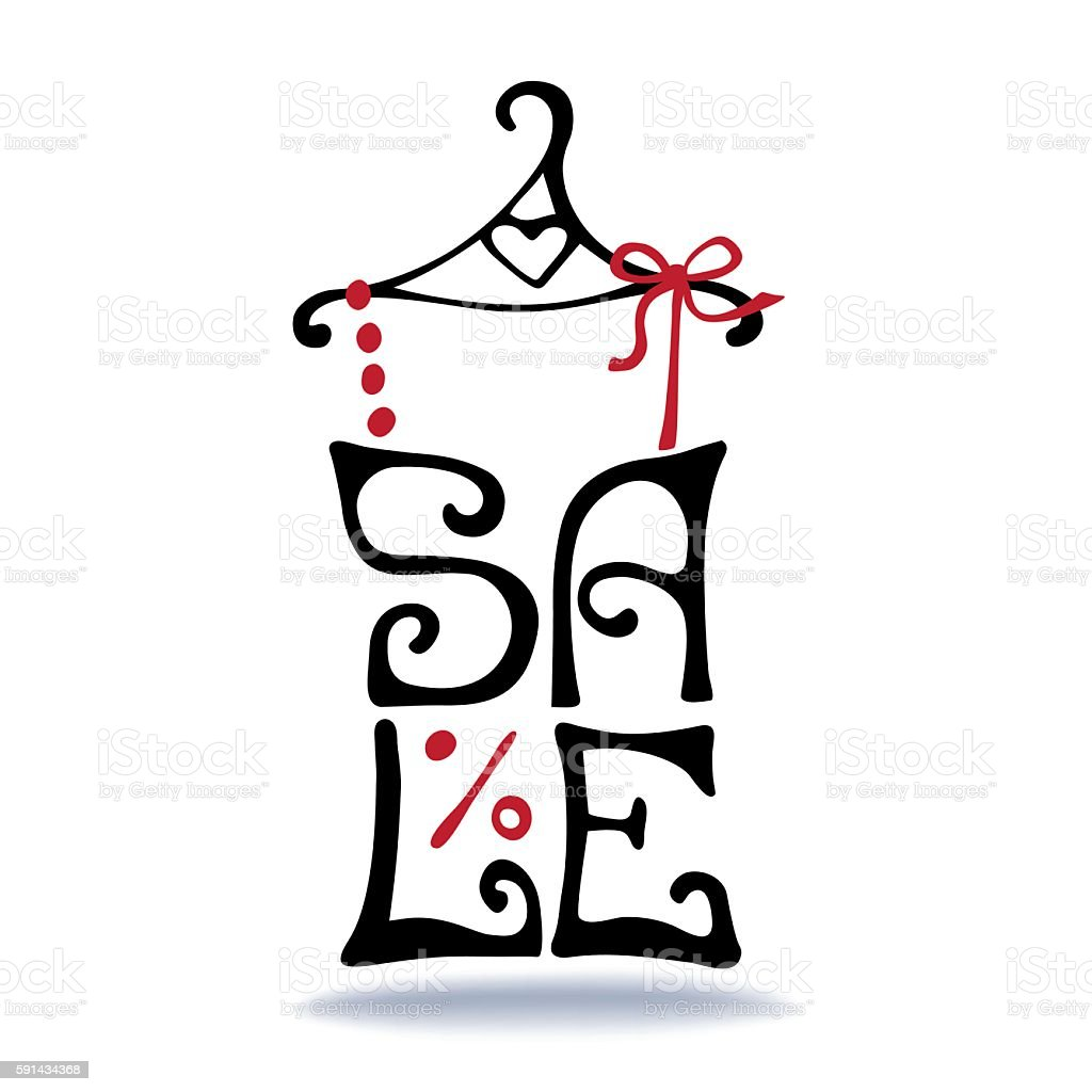 Sale lettering.Shirt on hanger.Typographic design vector art illustration