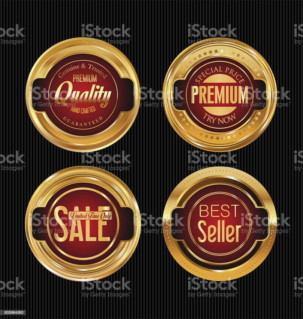 Sale luxury golden labels collection vector art illustration