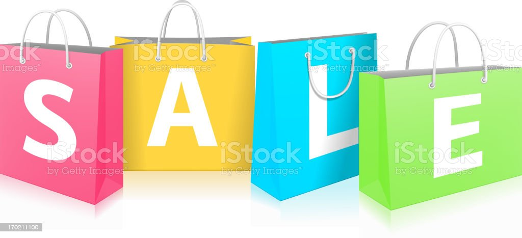 Sale on Shopping Bags royalty-free stock vector art