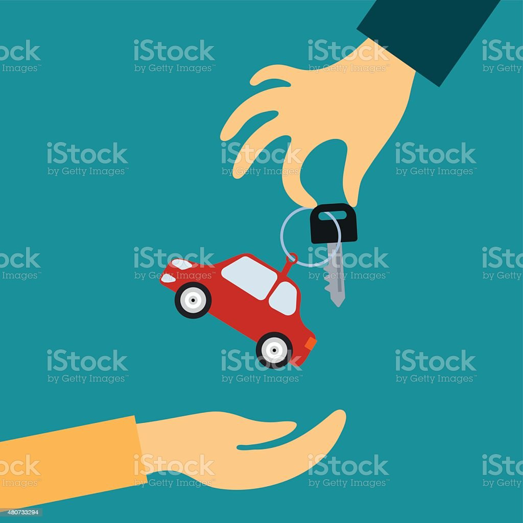Sale or rental car vector art illustration