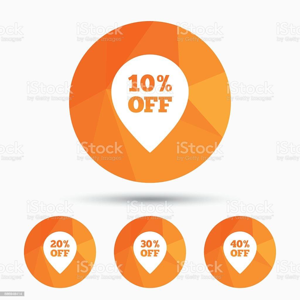 Sale pointer tag icons. Discount symbols. vector art illustration