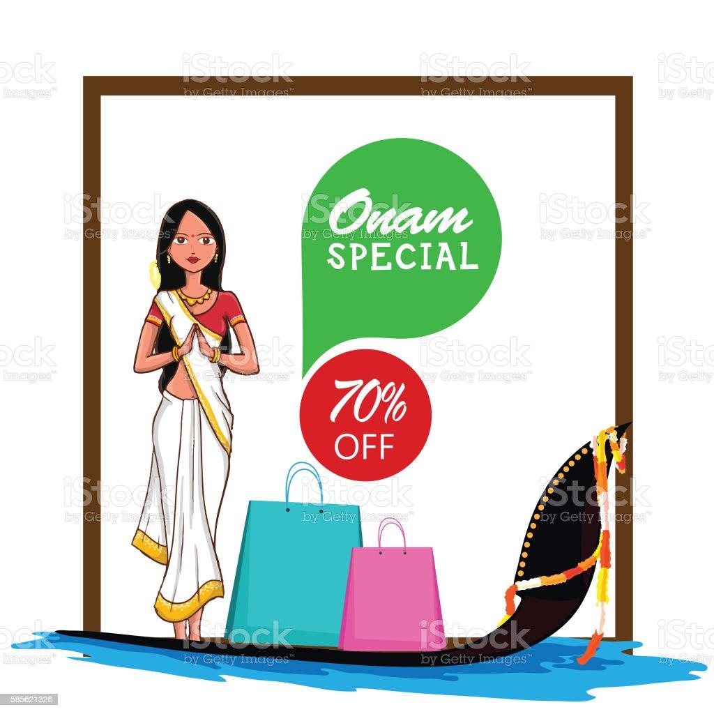 Sale Poster, Banner, Flyer for Onam Festival. vector art illustration