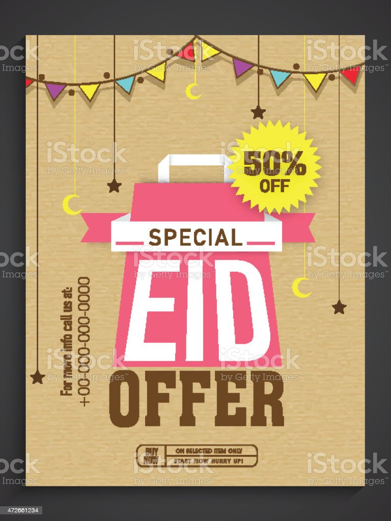 Sale poster, banner or flyer for Eid celebration. vector art illustration