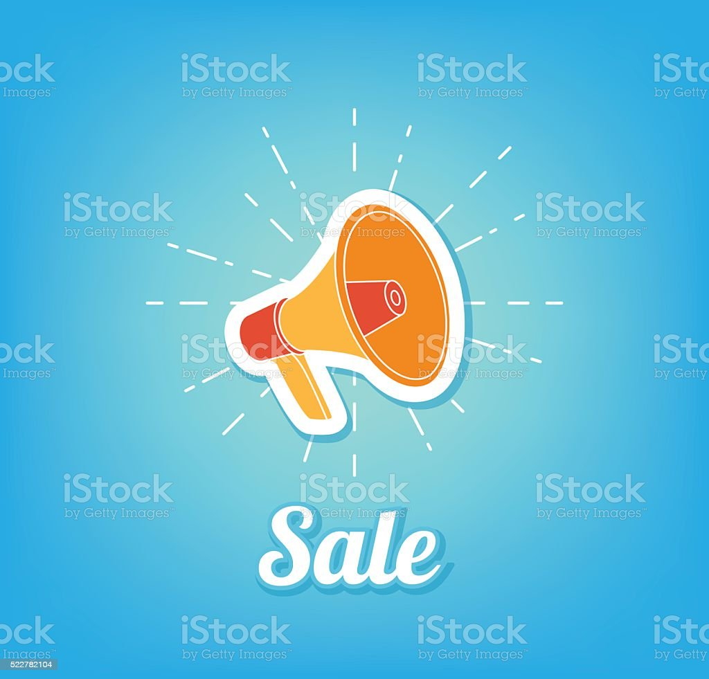 Sale. Poster coming soon. Loudspeaker vector art illustration