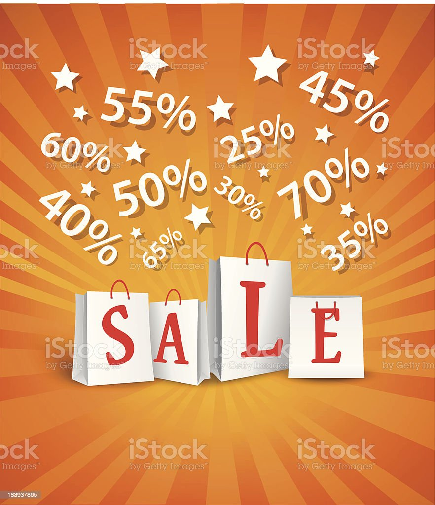 Sale poster design with shopping bags and percent discount royalty-free stock vector art