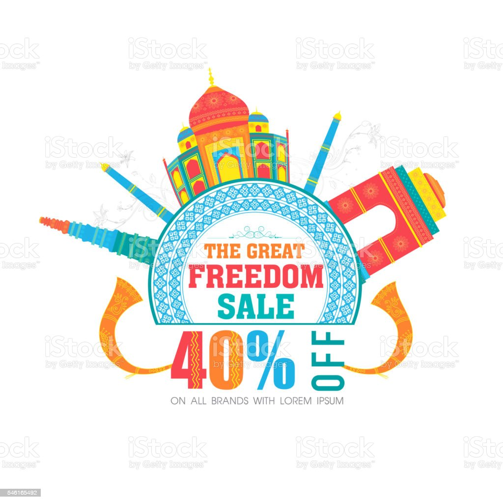 Sale Poster or Banner for Indian Independence Day. vector art illustration
