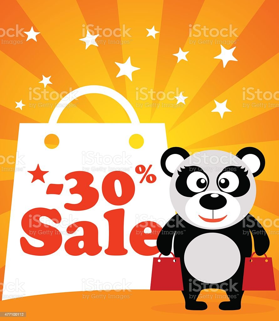 Sale poster panda monkey vector art illustration
