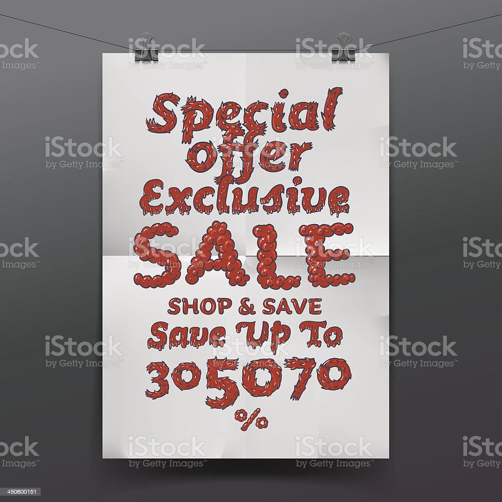 Sale poster with percent discount royalty-free stock vector art