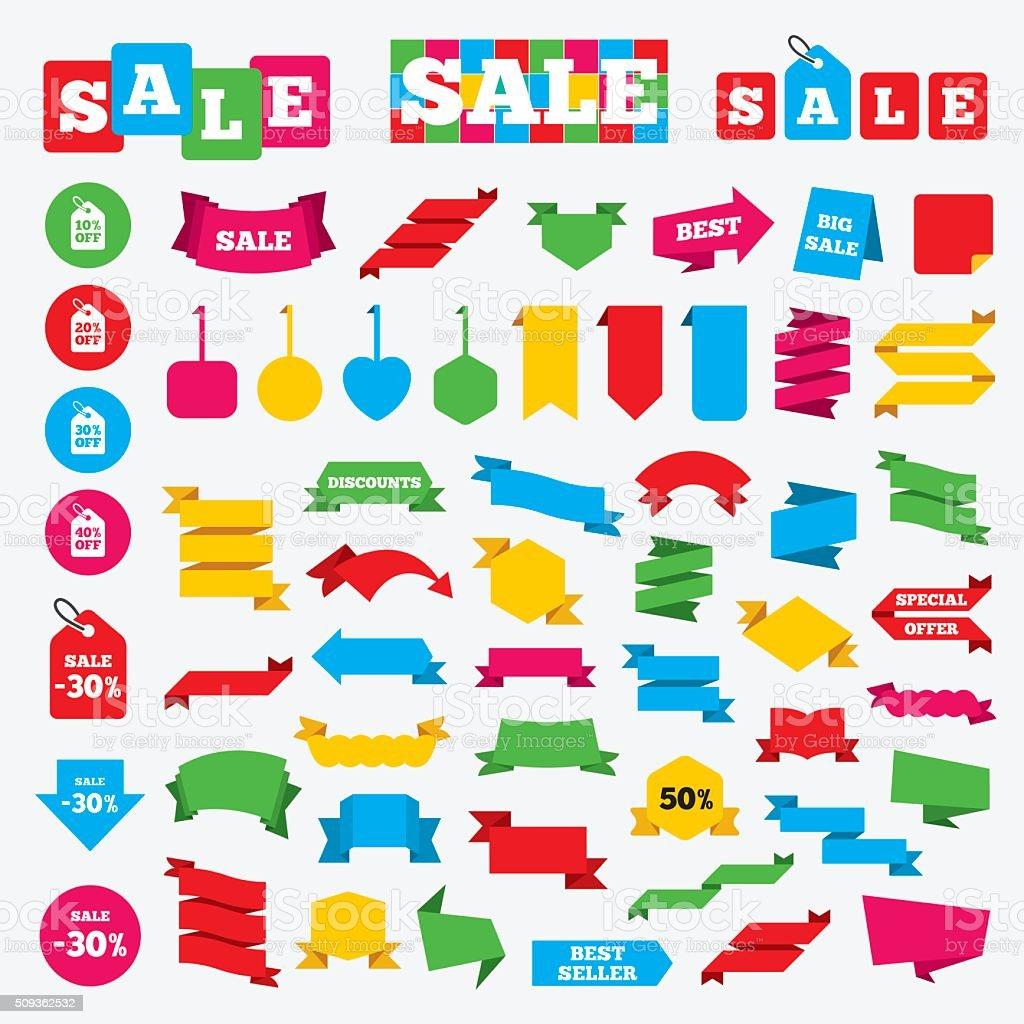Sale price tag icons. Discount symbols. vector art illustration