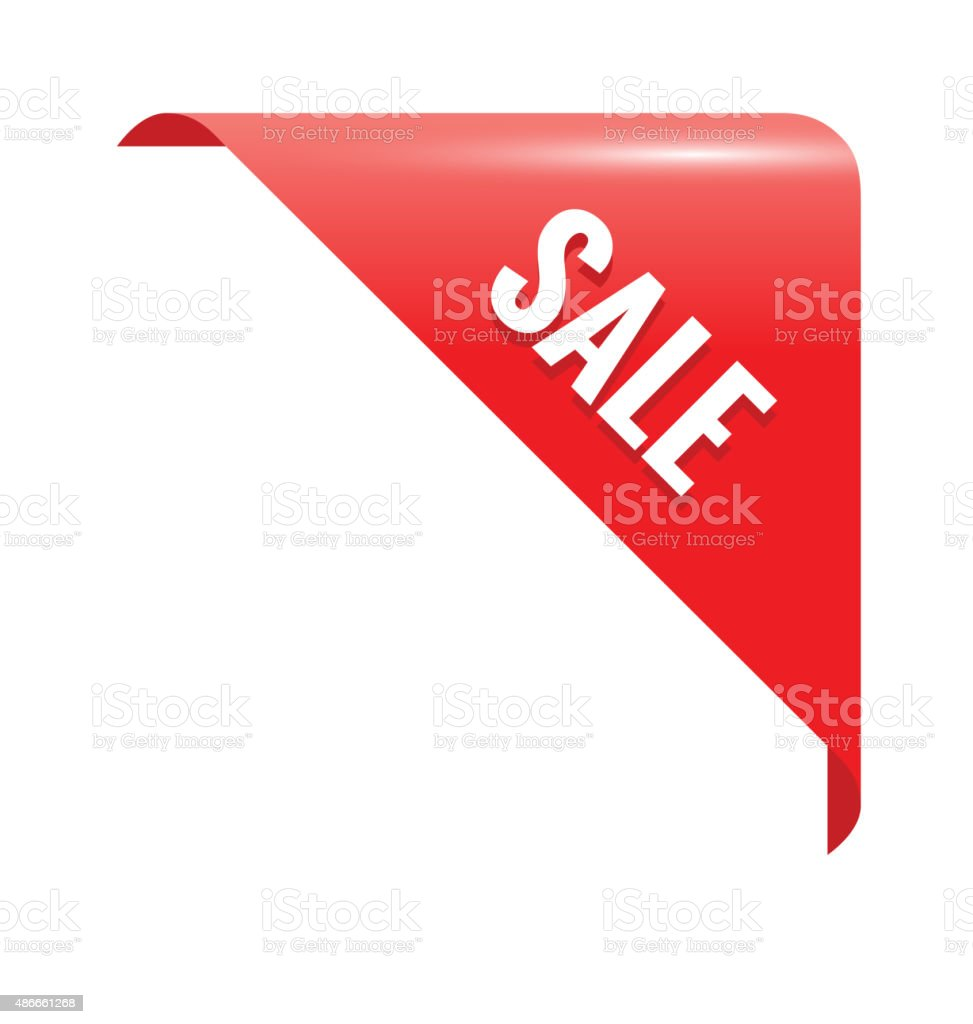 Sale Red Page Corner. Business Ribbon vector art illustration