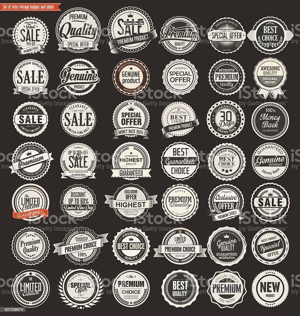 Sale retro vintage badges and labels vector art illustration