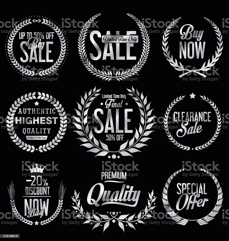Sale Retro vintage laurel wreath labels vector art illustration