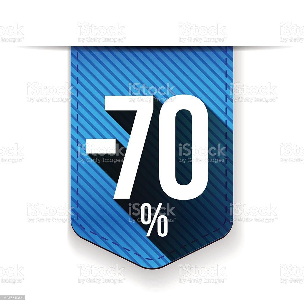 Sale seventy percent off banner red ribon vector art illustration