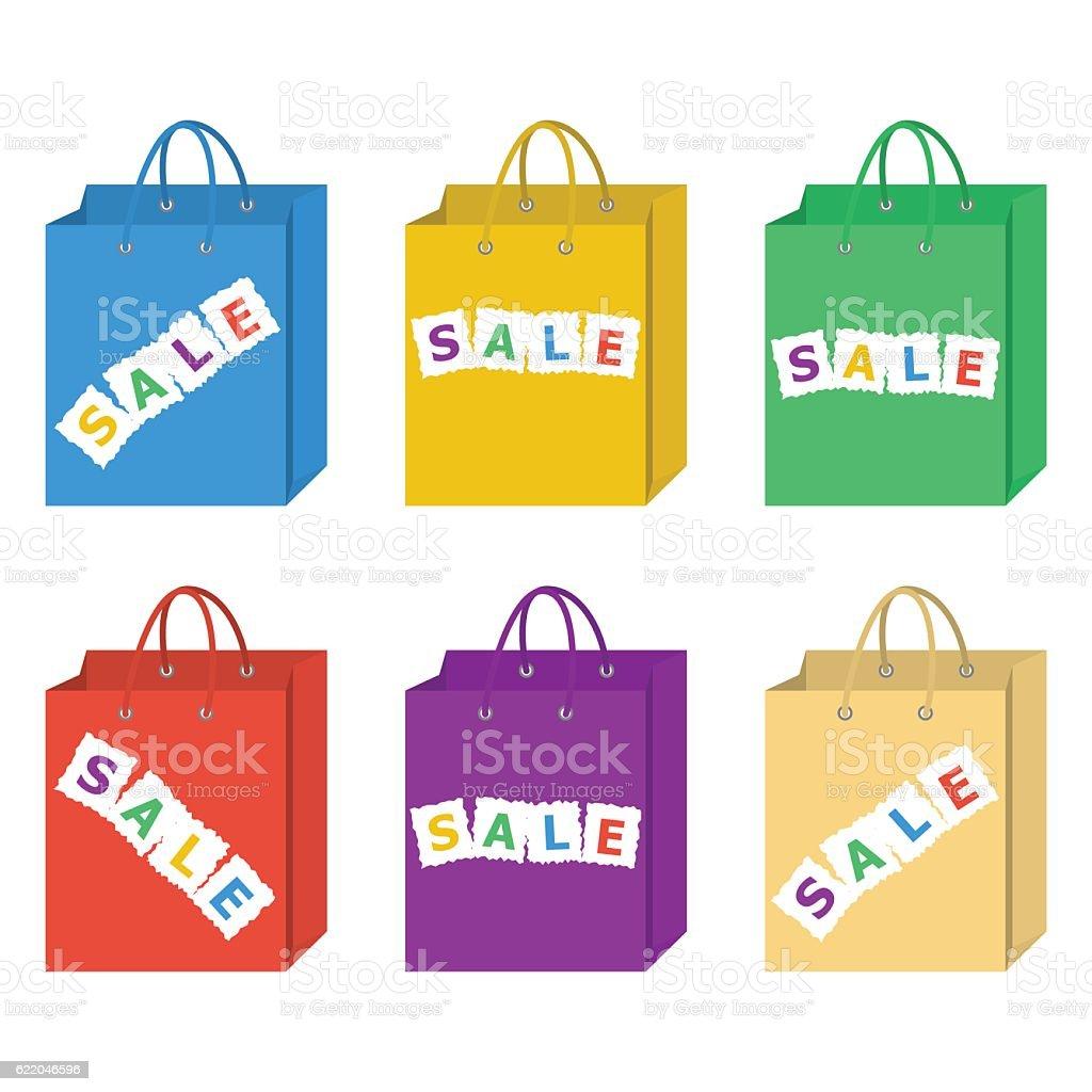 Sale shopping bag vector set in six different colors set. vector art illustration