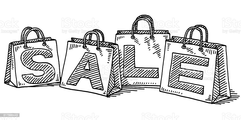 Sale Shopping Bags Drawing vector art illustration