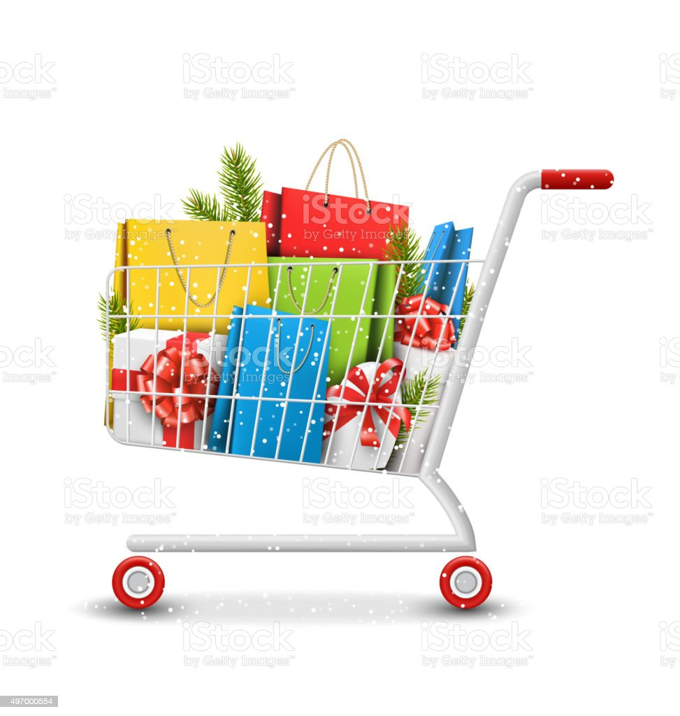 Sale Shopping Cart with Bags Gift Boxes and Pine Branches vector art illustration