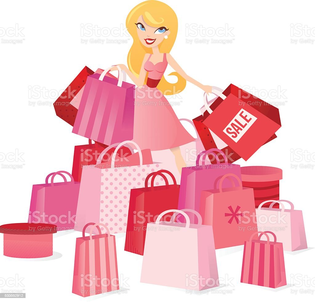 Sale Shopping Girl vector art illustration