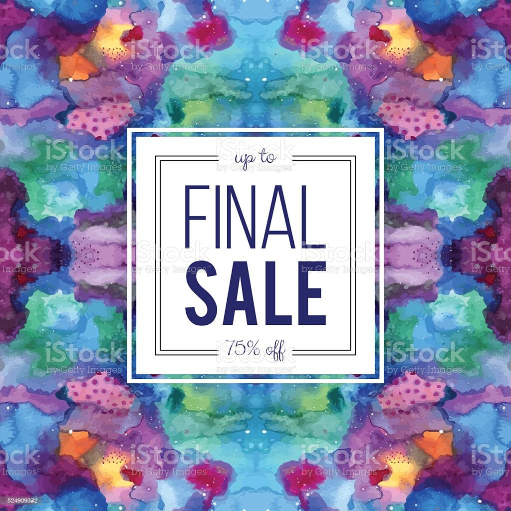 Sale sign on abstract cosmic watercolor background vector art illustration