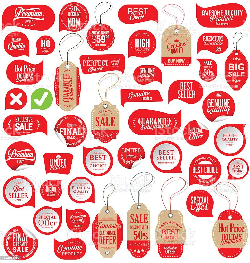 Sale stickers tags and labels collection vector art illustration
