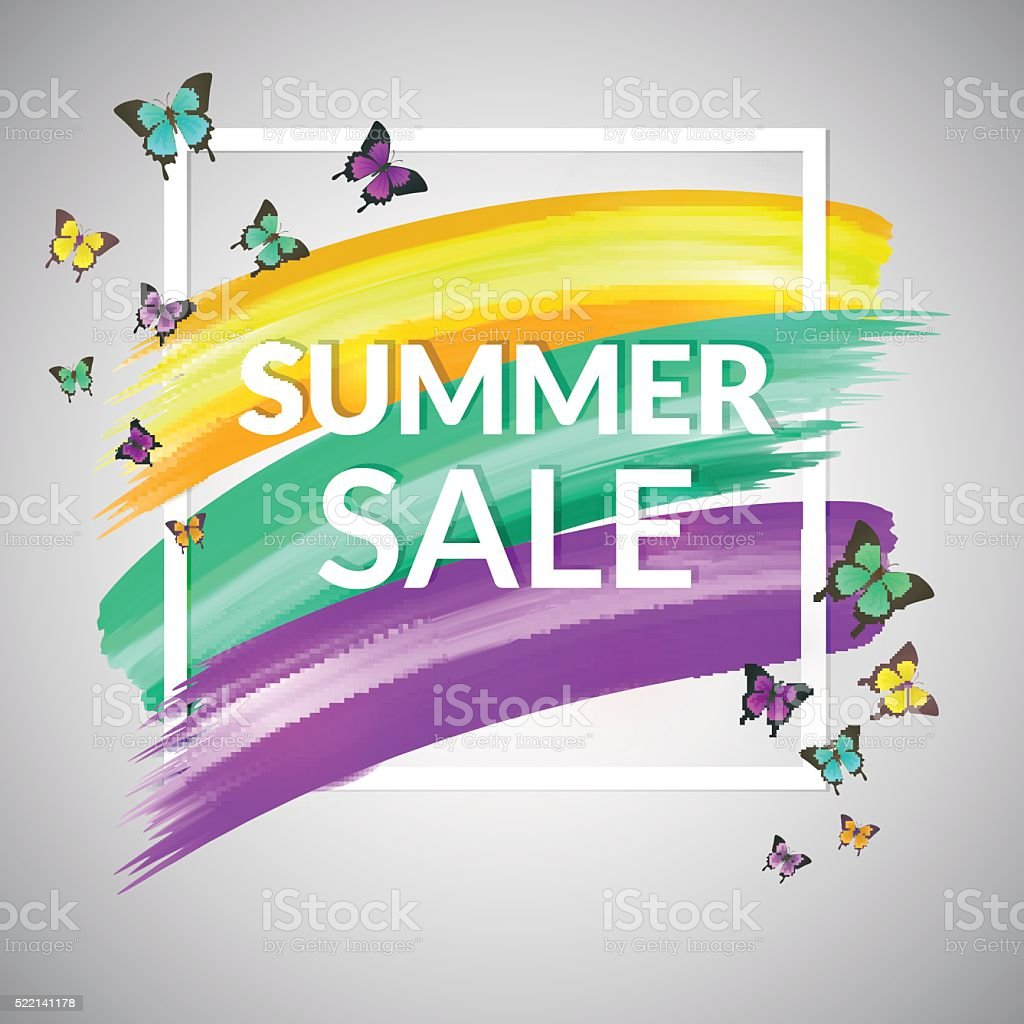 Sale Summer Banner design  with frame and butterflies vector art illustration