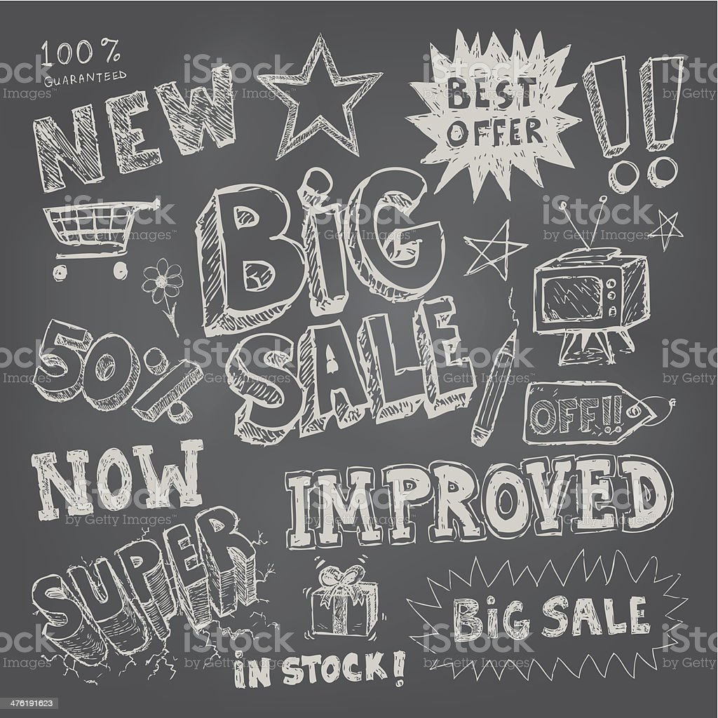 Sale tag and pricing doodles royalty-free stock vector art