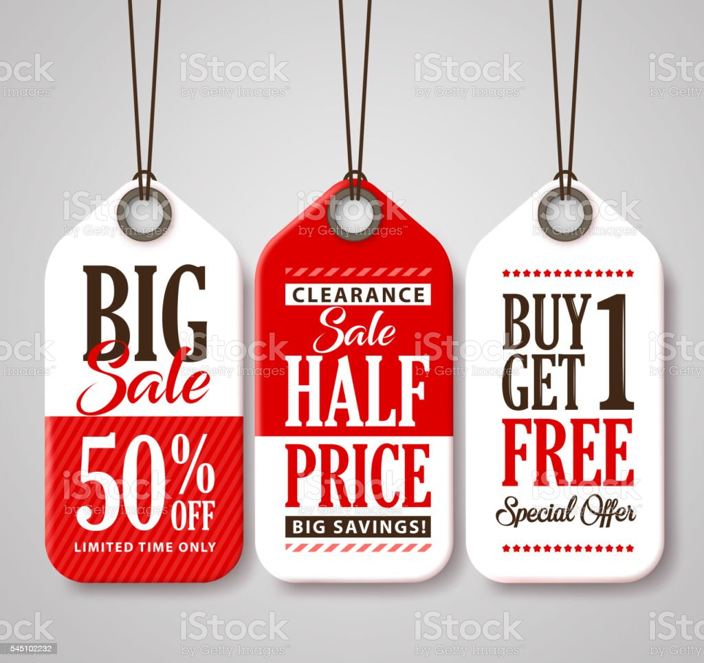 Sale Tag Design Collection Made of Paper for Promotion vector art illustration