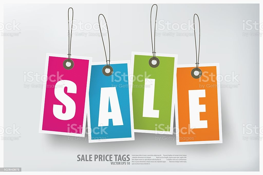 Sale tag on colored hanging labels. royalty-free stock vector art