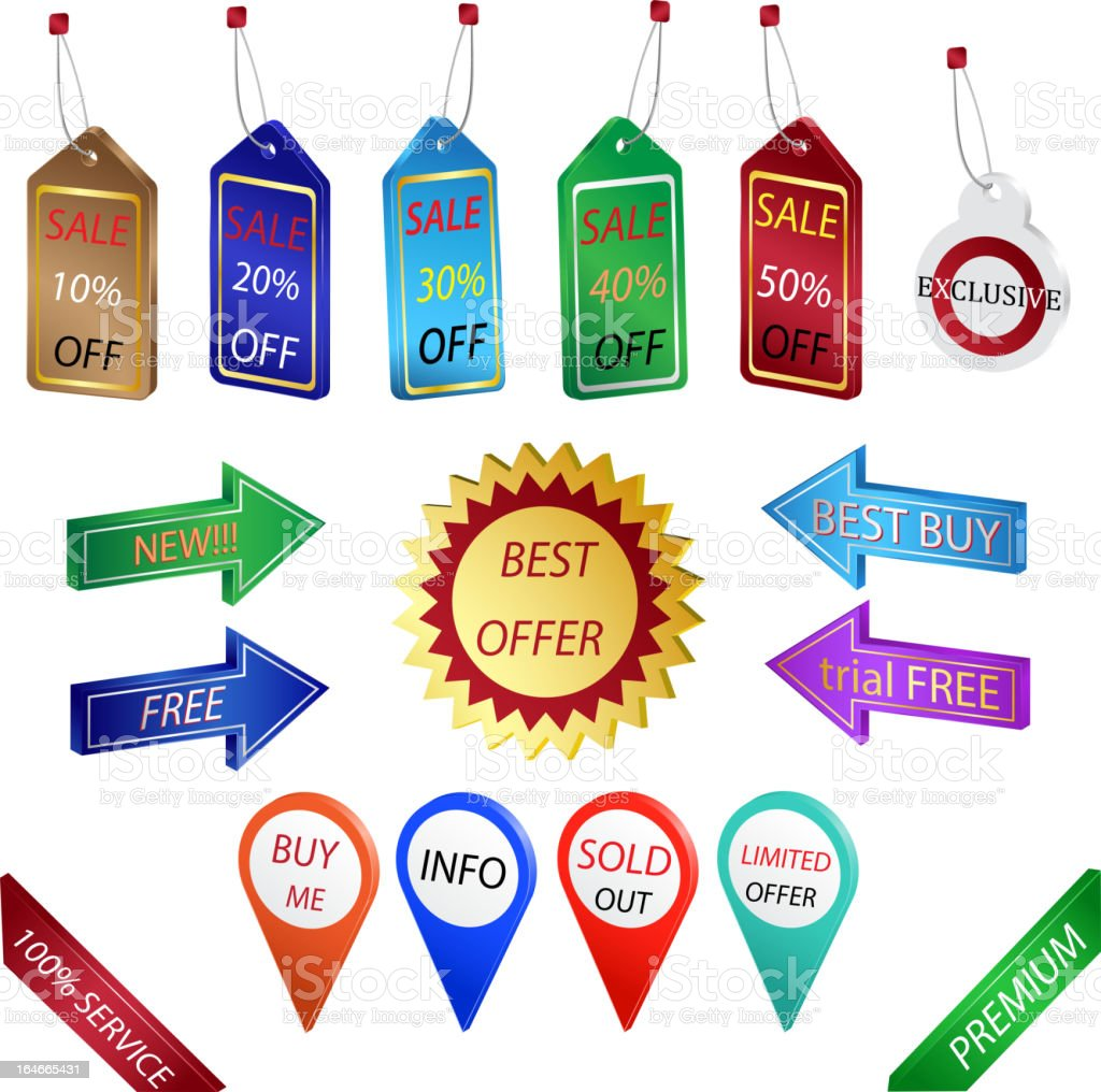 Sale tags and labels royalty-free stock vector art