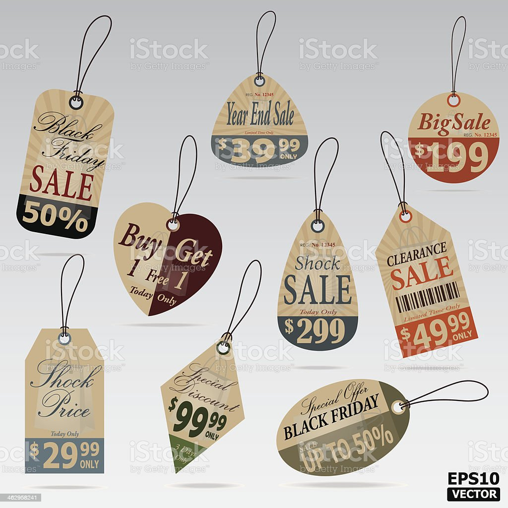 Sale Tags and Price tags. royalty-free stock vector art