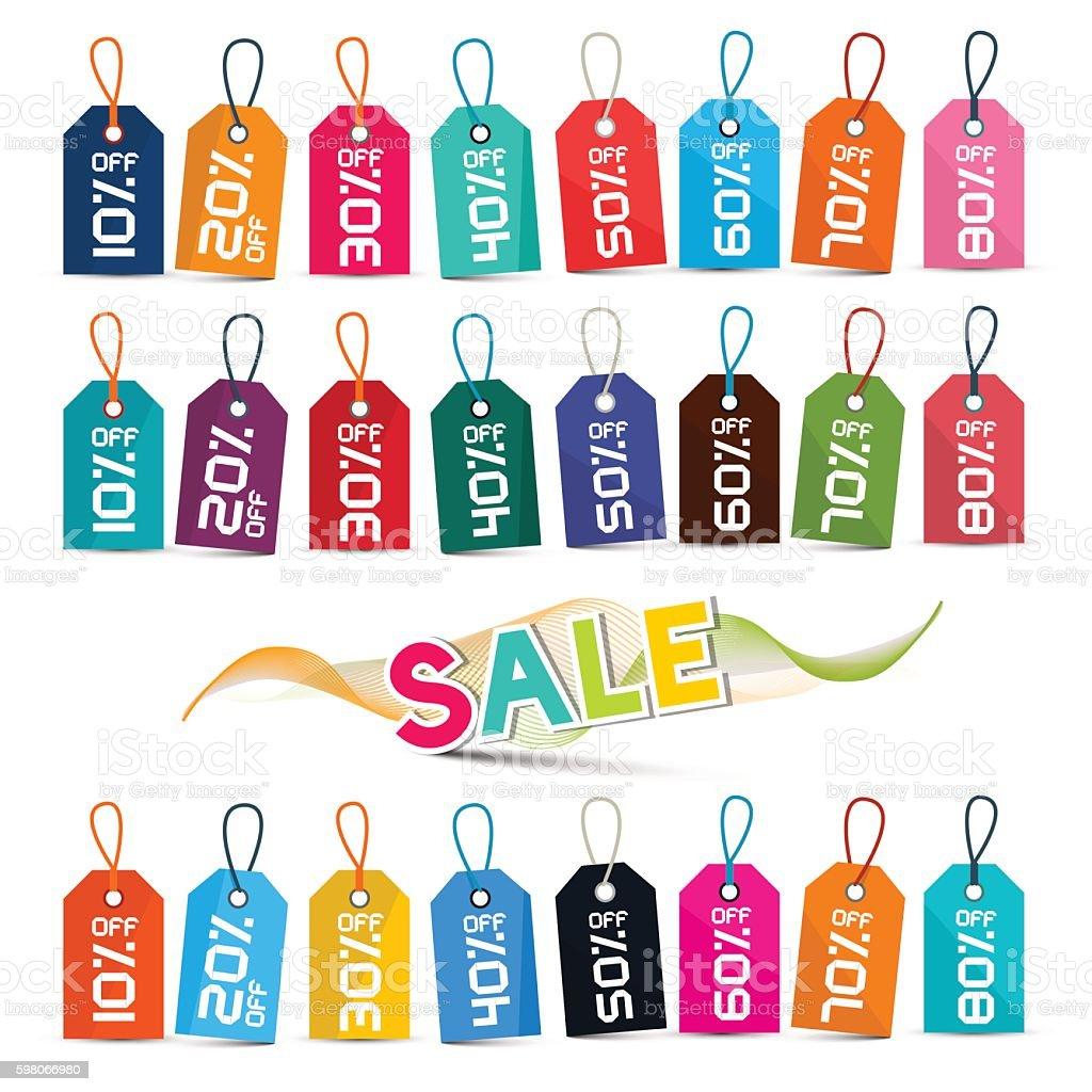 Sale Tags Set vector art illustration