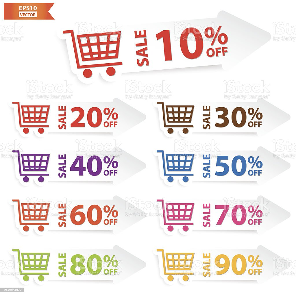 Sale tags with Sale up to 10-90 percent text. Eps10 royalty-free stock vector art