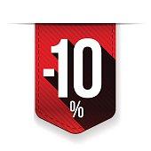 Sale ten percent off banner red ribon