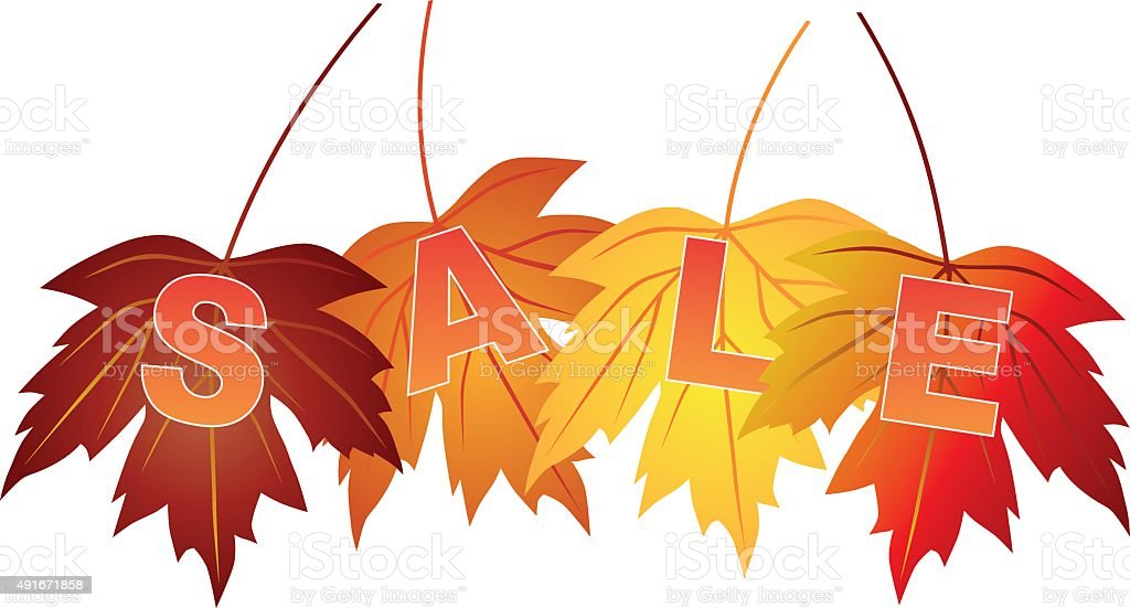 Sale Text on Fall Colors Maple Leaves Vector Illustration vector art illustration