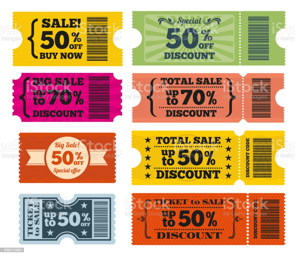Sale tickets vector set vector art illustration