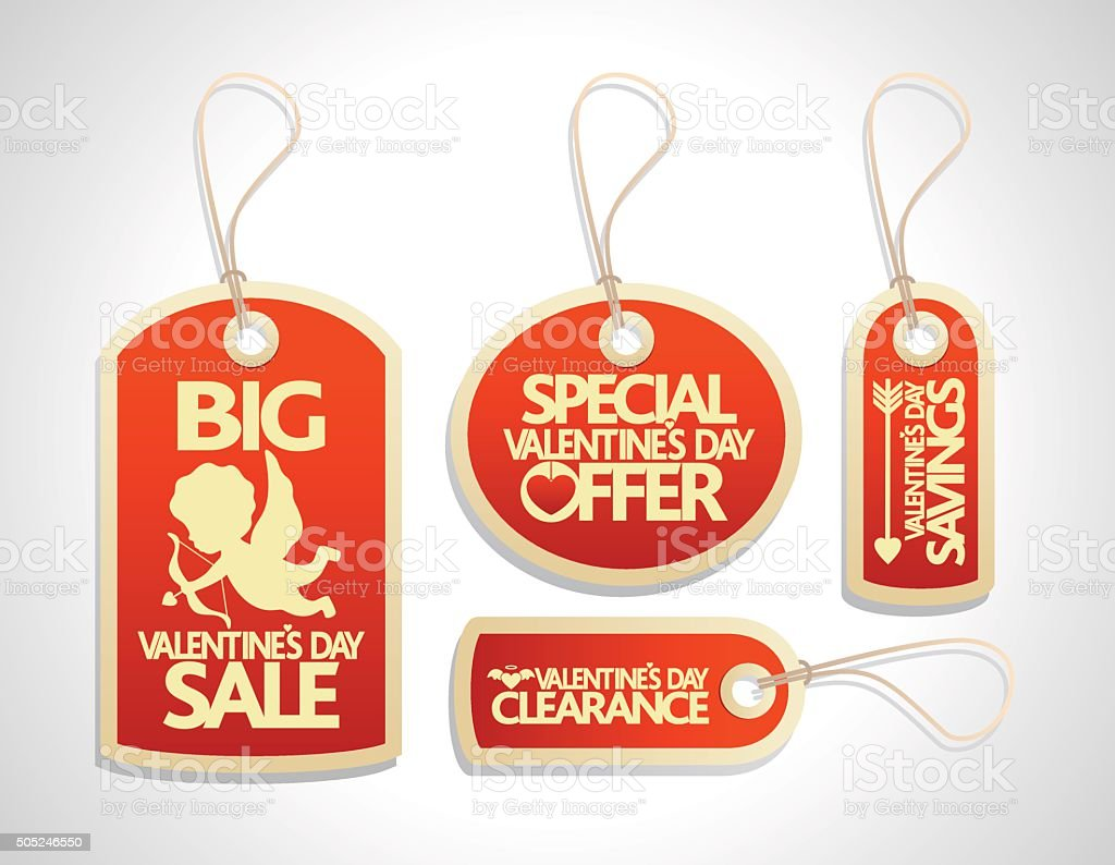 Sale Valentine's Day Tags Set ,red vector art illustration
