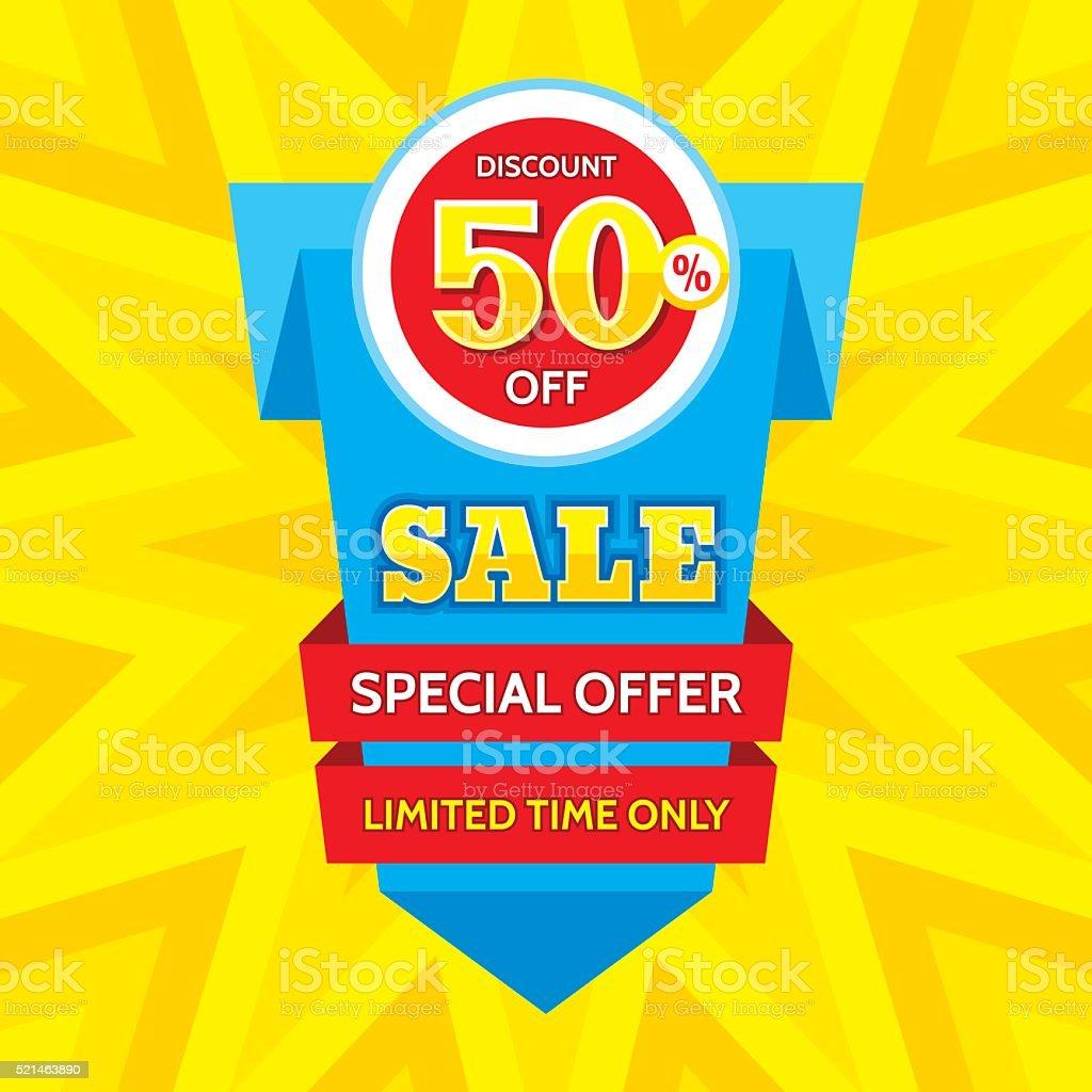 Sale vector banner - discount 50% off. vector art illustration