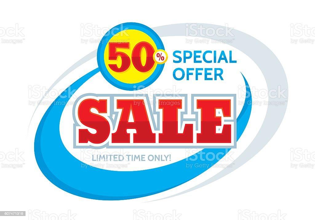 Sale vector banner - discount 50% vector art illustration