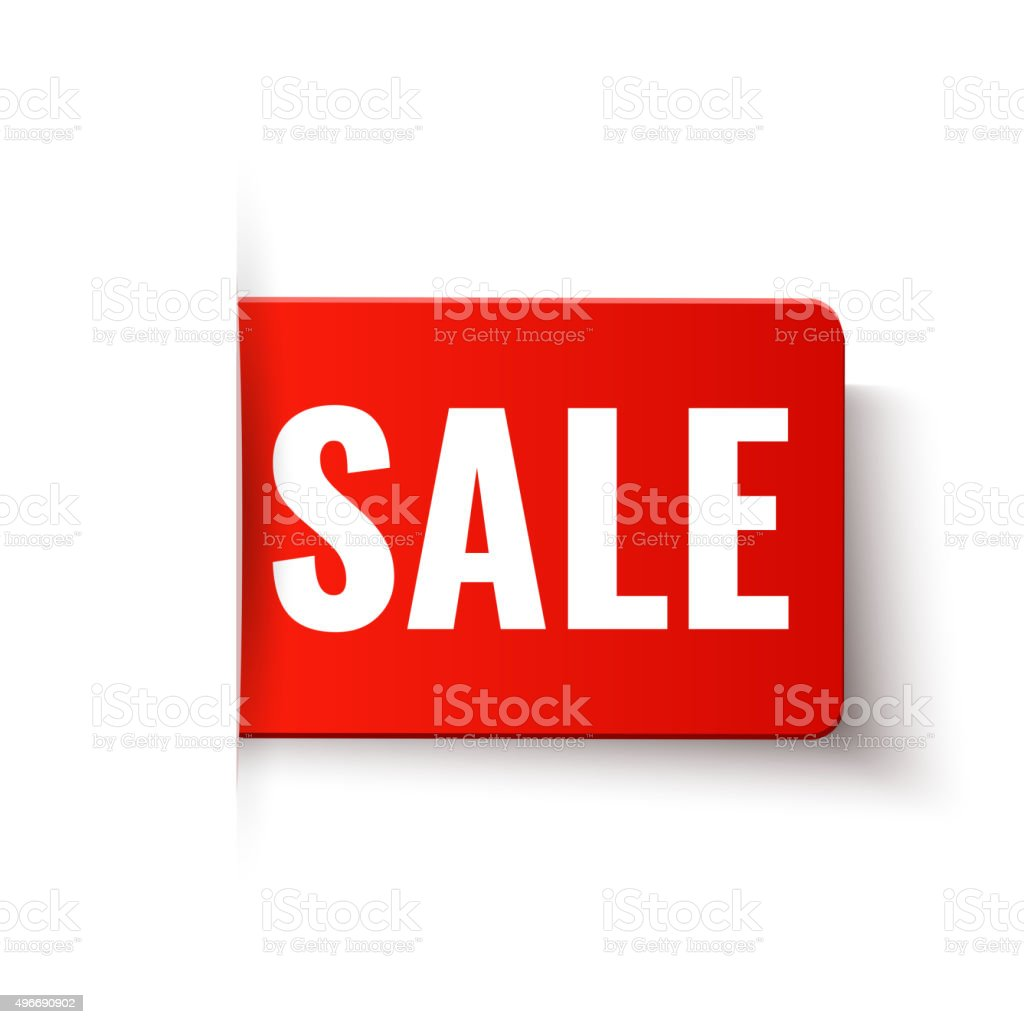 Sale - vector red tag in paper style vector art illustration
