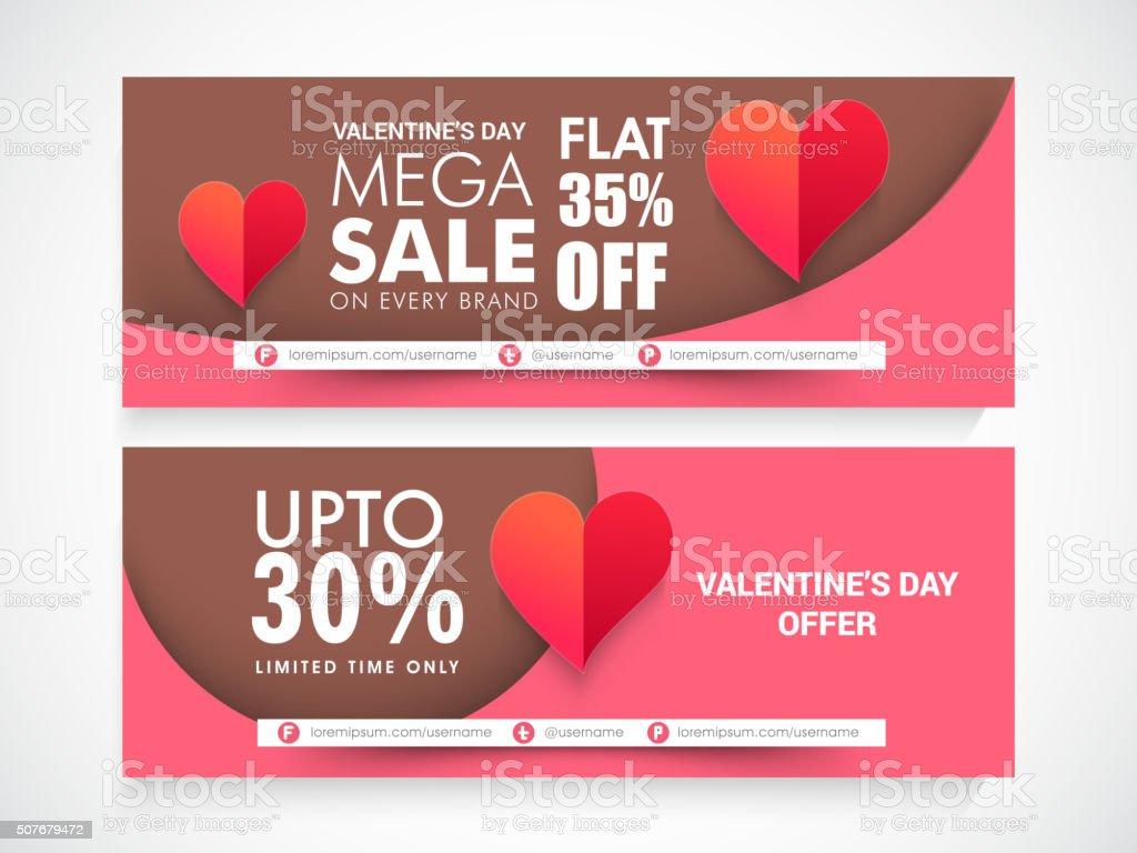 Sale web header or banner for Valentine's Day. vector art illustration
