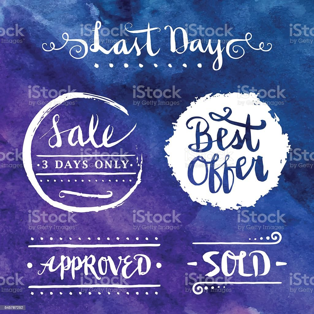 Sales and Promotions Calligraphy Set vector art illustration