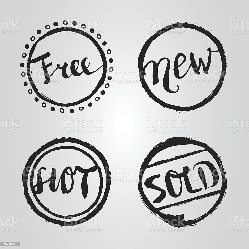 Sales and Promotions Lettering Set vector art illustration