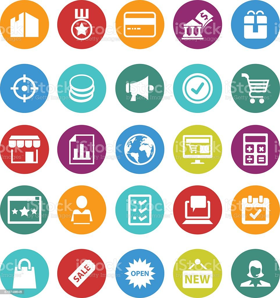 Sales and retail icon set vector art illustration