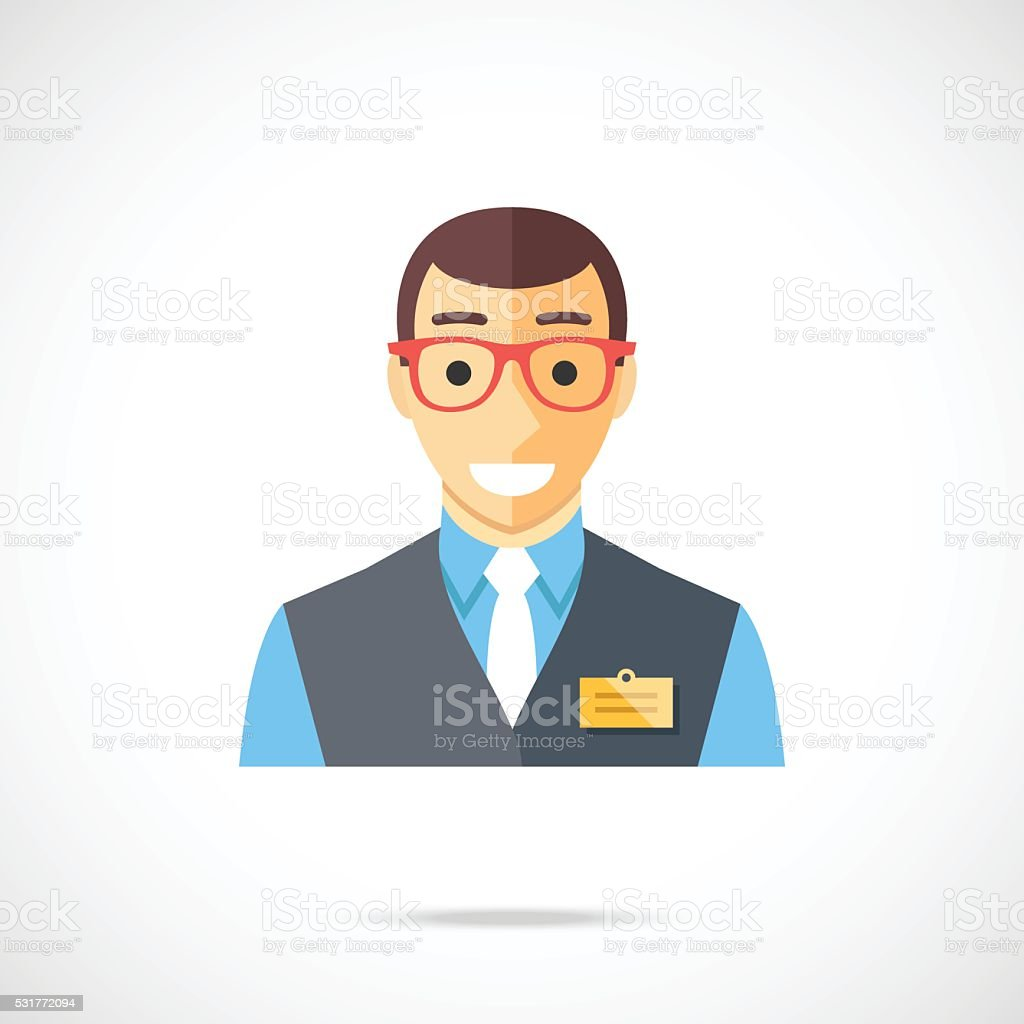 s assistant icon clerk cashier store worker flat vector 1 credit